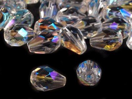 Sklenený korálik brúsený kvapky 7x10mm crystal AB efekt