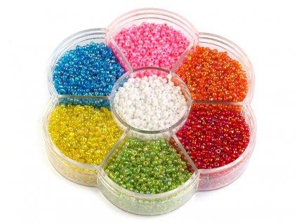 Sklenené koráliky rokajl v plastovom boxe mix