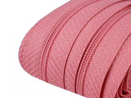 Zips špirálový 3mm metráž baby ružový 137