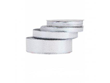 wstazka brokatowa w paski 12mm 22mb srebrna