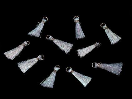 Mini strapček s očkom 12mm lurexový biely AB efekt