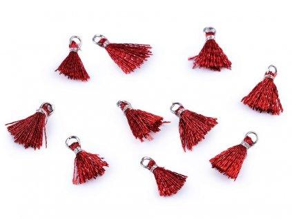 Mini strapček s očkom 12mm lurexový červený