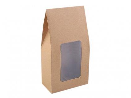 Papierová krabica natural s priehľadom 11x21x6cm