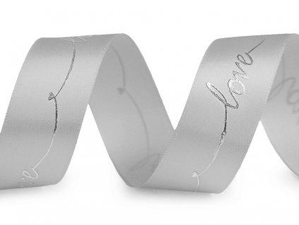 Saténová stuha s metalickou potlačou Love sivá 26mm
