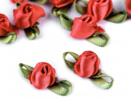 Saténová ružička s lístkami korálová