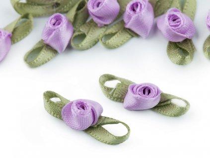 Saténová ružička s lístkami fialová
