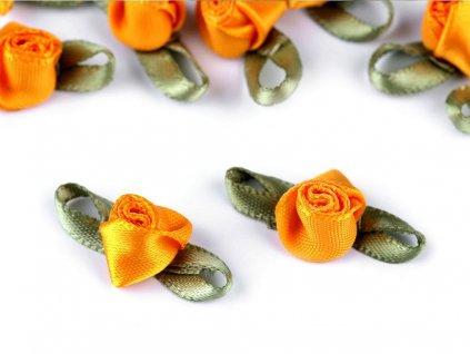 Saténová ružička s lístkami horčicová