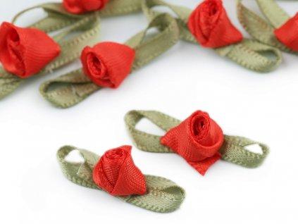 Saténová ružička s lístkami červená