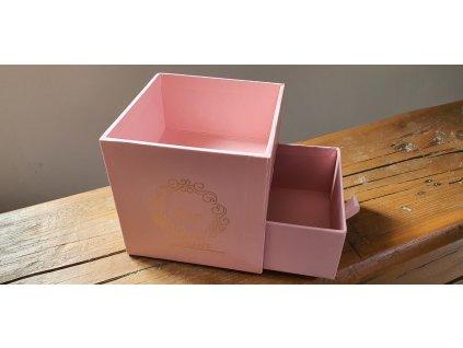 Flower box kocka 10x10cm ružová