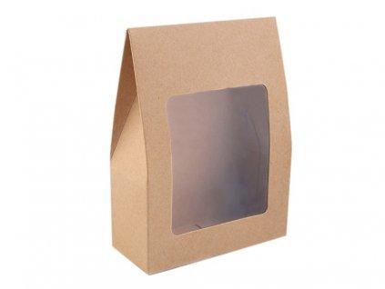 Papierová krabica natural s priehľadom 9,5x13x4cm