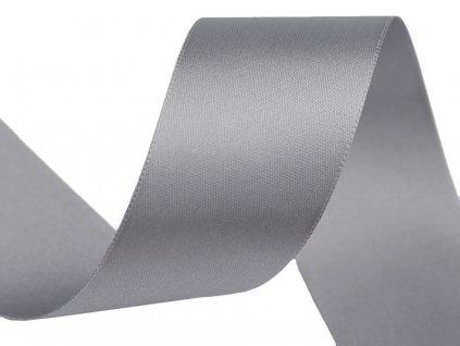 Obojstranná saténová stuha 40mm 842 šedá