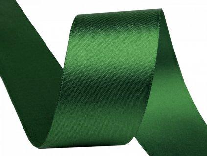 Obojstranná saténová stuha 40mm 315 tmavá zelená