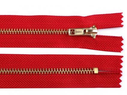 Zips kovový / mosadzný 4mm/16cm červený