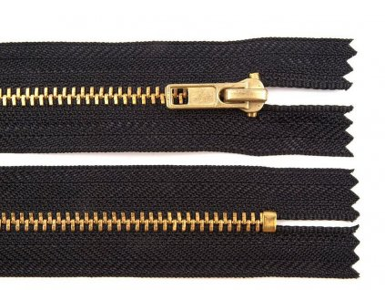 Zips kovový / mosadzný 4mm/16cm čierny