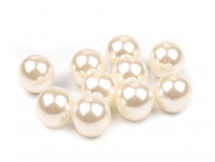 Plastové voskové koráliky Ø12mm/10 ks svetlé krémové