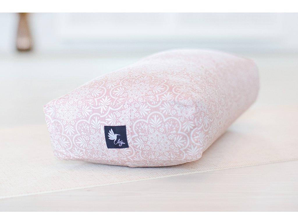 Bolster na jógu růžový vzor