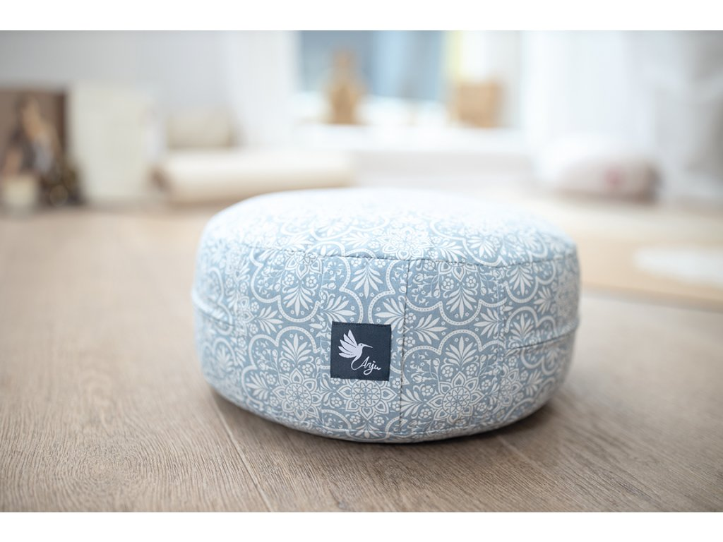 meditační polštáře bio bavlna modrý