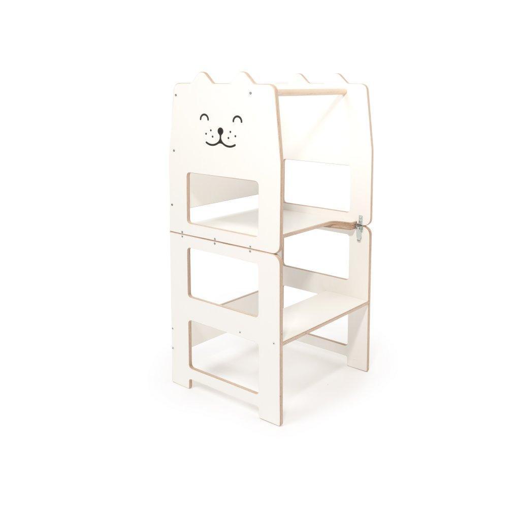 Multifunkční učící věž kočka bílá 4