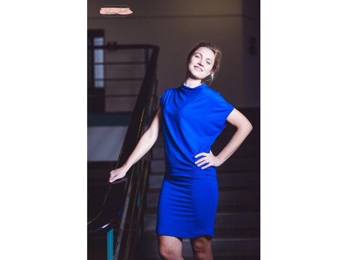Rosmarina šaty krátký rukáv královsky modrá