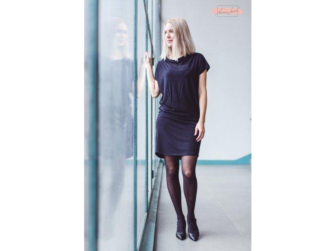 Rosmarina šaty krátký rukáv černá