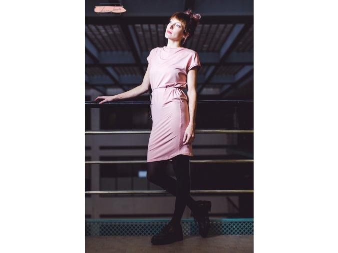 Rosmarina šaty krátký rukáv starorůžová