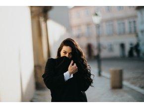 Vlněný kabát s šálovým límcem černý