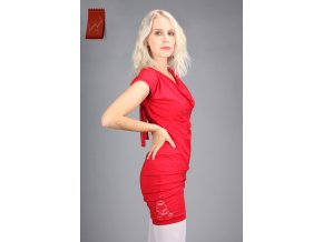 Melissa šaty krátký rukáv červená