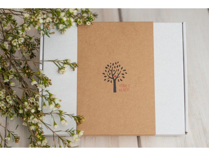 Bílá krabička s hnědou výplní