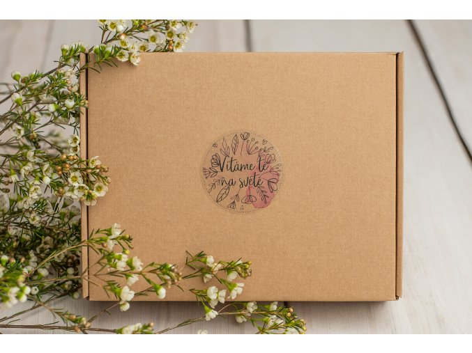 Přírodní krabička s hnědou výplní - Pro holčičku