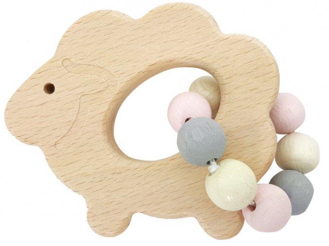 Dřevěná ovečka s korálky ROSA