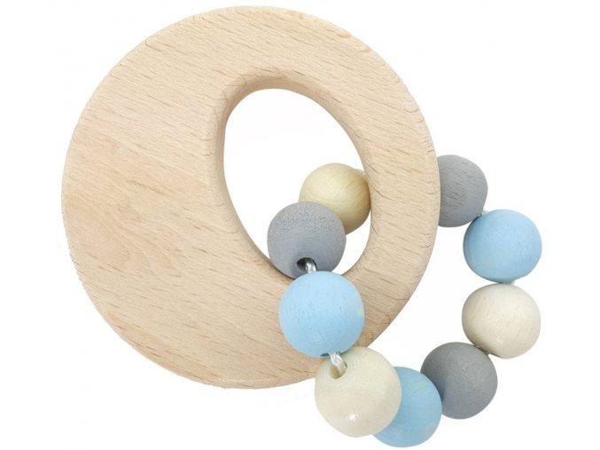 Dřevěný kroužek s korálky BLUE