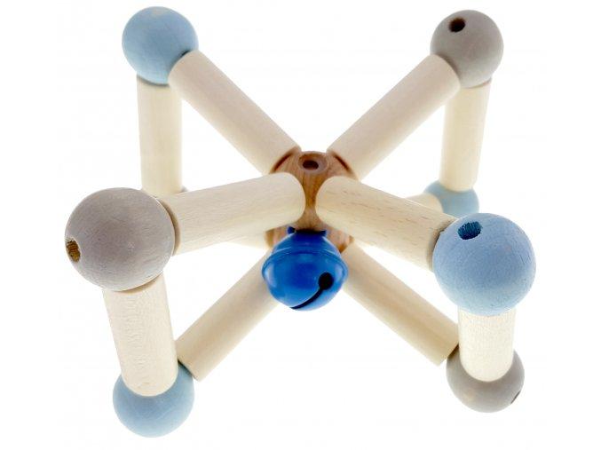 Dřevěné chrastítko Twist BLUE