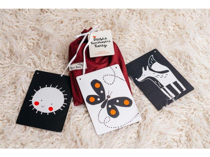 Dětské kontrastní kartičky - Bordó pytlík