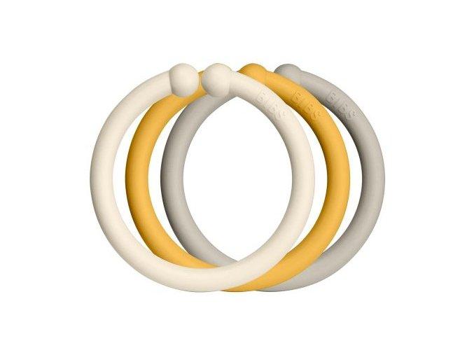 Bibs Loops Kroužky Ivory+Honey Bee+Sand 1