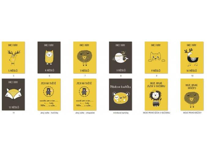 Milníkové kartičky černo hořčicová