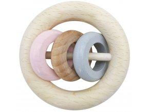 Dřevěné chrastítko 3 kroužky ROSA