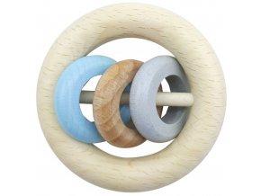 Dřevěné chrastítko 3 kroužky BLUE