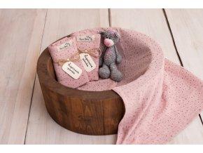 Mušelínová plenka STRIPES *Dusty Pink* (dvojitá gázovina)