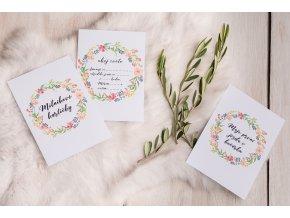 Milníkové kartičky Barevný květinový věnec