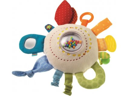 Haba TEX Textilní chrastítko a motorická hračka pro miminka Duhový polštářek od 6 měsíců