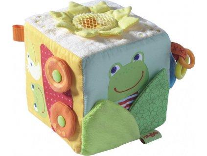 Haba TEX Textilní hračka kostka Žabka s aktvitám pro děti od 6 měsíců