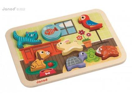 Janod Dřevěné vkládací puzzle pro nejmenší Zvířátka Chunky od 1 roku 7 dílů