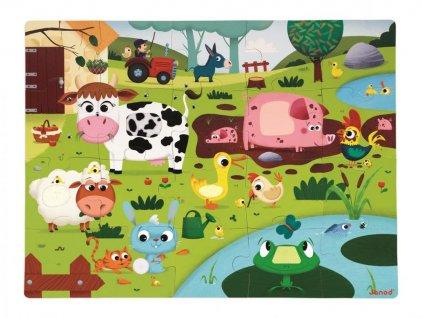 Janod Puzzle dotykové Zvířátka na farmě s texturou 20 dílů od 3-6 let