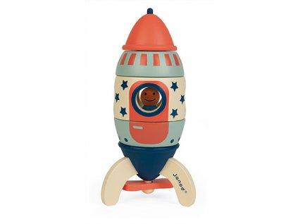 Janod Drevená magnetická skladačka Raketa Hviezdy 16 cm