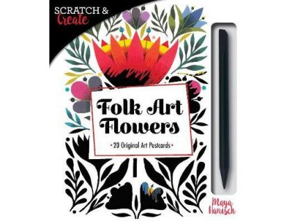 Scratch & Create Folk Art Flowers : 20 Original Art Postcards