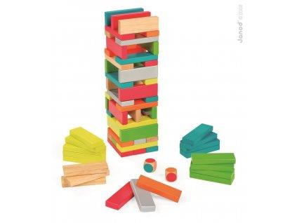 Janod Dřevěná skládačka Equilibloc Color 7 barev 60 ks