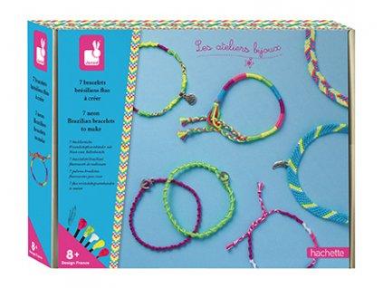 Janod Atelier Sada na výrobu šperků se šperkovničkou Neonové náramky 8+