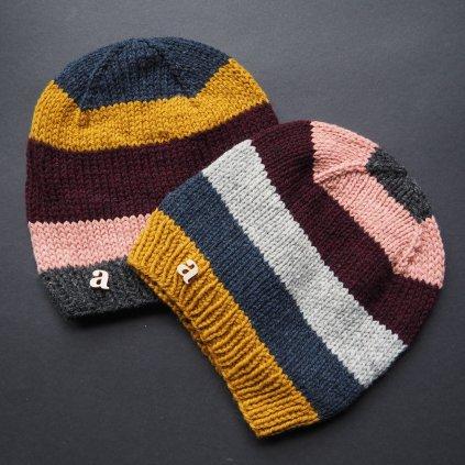 Pruhované čepice z francouzského merina