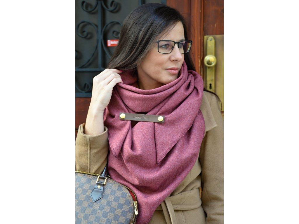 Bordó vlněný šátek
