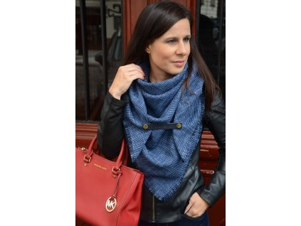 Modročerný kostkovaný šátek